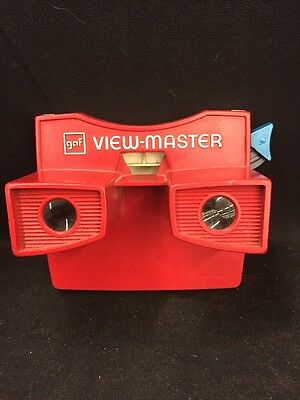 Vintage GAF View Master Viewer Rare Red White & Blue and Snoopy Reel