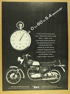 1967 BSA Spitfire III motorcycle & TAG Heuer Stopwatch photo vintage print Ad