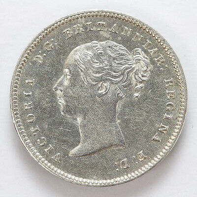 1857 Great Britain Silver 4 Pence Victoria Groat KM732 - CH AU #01312078g
