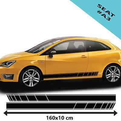 2 x Side Racing Stripes For Seat Car Vinyl Decal Car Tuning Graphics