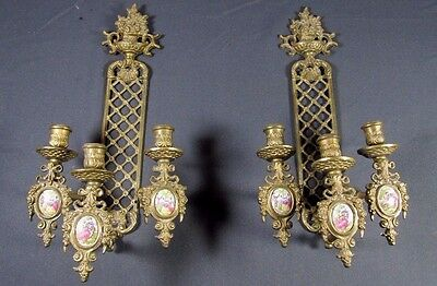Porcelain Brass Sconces: Pair VTG French Limoges Enamel Empire Candle Wall Lamp