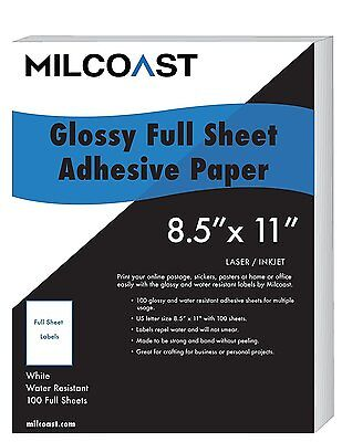 "Milcoast Full Sheet 8.5"" x 11"" Shipping Sticker Paper Adhesive Labels Glossy for"