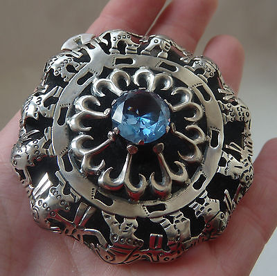 Very Rare Large Vintage Mexican Sterling Silver TAXCO Hallmarked 925 Pin Brooch