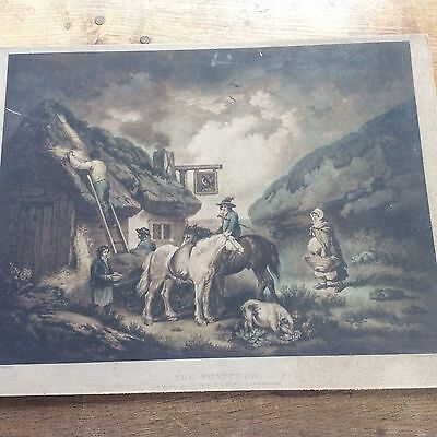 c18th Antique 1783 William Ward Engraving of The Thatcher by George Morland