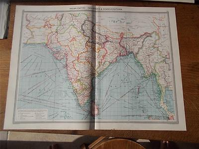 Antique c1904 Colour Map INDIAN EMPIRE INDUSTRY COMMUNICATIONS HARMSWORTH ATLAS