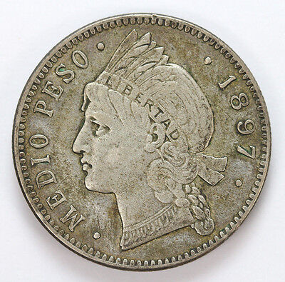 1897 A Misc. Assorted Coins Dominican Republic Silver Half Peso - F #01312208g