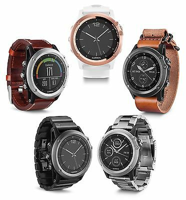 Garmin fenix 3 Sapphire Multisport Training GPS Watch Leather/Metal/Titanium