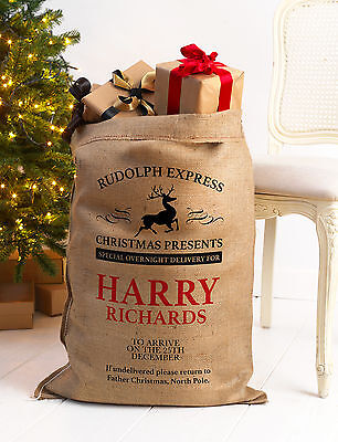 Personalised Christmas Santa Sack Xl Extra Large Hessian Traditional Stocking V2