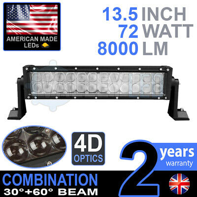 "4D 13"" 72w Cree LED Light Bar Combo IP68 Driving Light Alloy Off Road 4WD Boat"