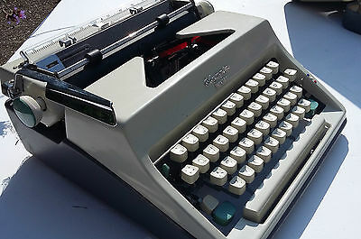 Vintage Typewriter Olympia Monica White Portable Working Retro Made West Germany