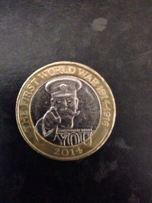 Rare first world war lord kitchener 2 two pound coin