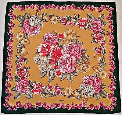 "Vintage Erre Bunch Roses Green Yellow Pink Red Jacquard Satin Silk 35"" Scarf"