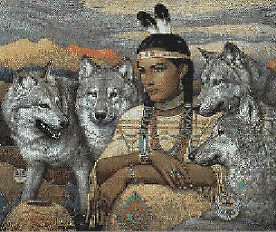 Indian Squaw And Wolves # 2 - Cross Stitch Chart