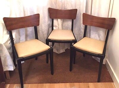 Three Vintage Retro Mid Century 60s Teak Bentwood Curved Back Dining Chairs