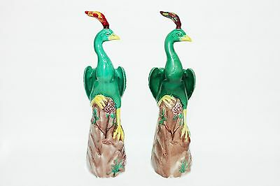 Pair of Green Peacocks Late 1940's Chinese Art