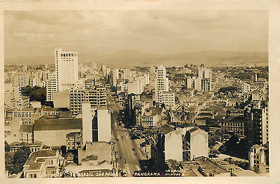 Sao Paulo Brazil Great Old Real Photo Postcard Panoramic View