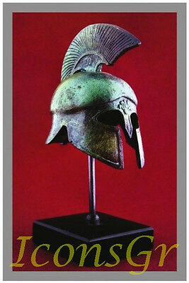 Ancient Greek Bronze Museum Replica Vintage Spartan Officer Battle Helmet 300