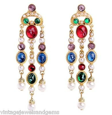 HAUTE COUTURE GRIPOIX CABOCHON White Pearl Bead & Rhinestone Chandelier Earrings