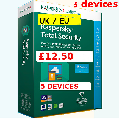 Kaspersky Total Security 2017 5x PC/Mac/Android 1-Yr  digital download