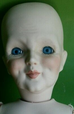 """15.5"""" Repro? Wrinkled Mystery Character DOLL BISQUE Jointed Body  arms detached"""