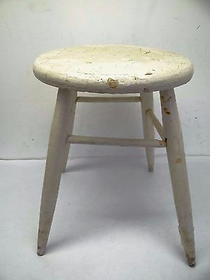 Antique Painted White Medium Sized Wood Stool Seat Plant Stand Used Old