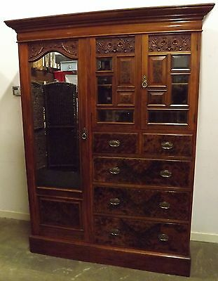 ANTIQUE VICTORIAN WALNUT COMPACTUM WARDROBE w. DRAWERS RETAILED BY MAPLE & CO.