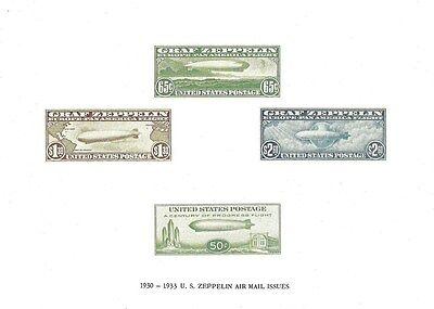 1930-1933 U.S. Zeppelin Air Mail Issues Reproductions on 10X7 Card