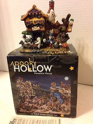 Spooky Hollow Porcelain Lighted House Post Office Halloween Decoration 2002