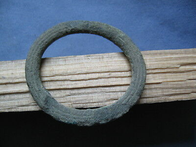 """LARGE RING PROTO MONEY"" ANCIENT CELTIC BRONZE ENGRAVED RING 600-400 B.C. 54 mm"