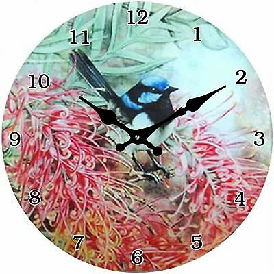 Blue Wren in Grevillea Clock with clear numbers - Glass 17cm Wall or Desk