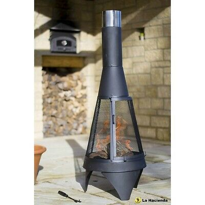 La Hacienda Medium Mesh Colorado Black Steel Chiminea Patio Heater 56137