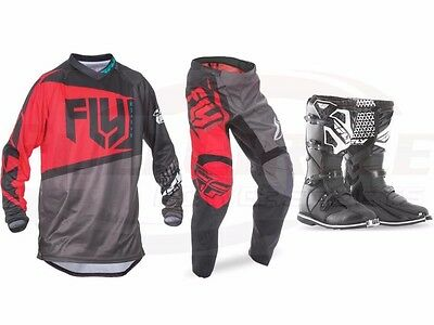 Fly Racing Red F-16 Jersey Pant Boots Combo Set MX/ATV Motocross Riding Gear