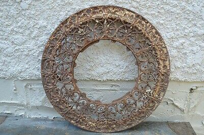 Antique Heat Register Floor Vent Grate Cast Iron Round Ornate Victorian