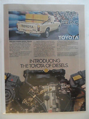 1981 Print Ad Toyota Diesel Pickup Truck ~ Oh What a Feeling!