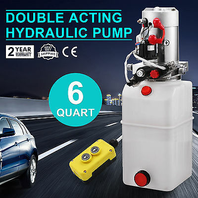 Double Acting Hydraulic Pump Dump Trailer 6 Quart Lifting Plastic Power Unit