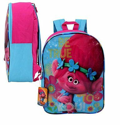 """Dreamworks Trolls 15"""" """"Be true to you!"""" Plain Front Backpack"""