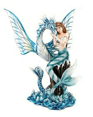 "19 1/2"" Mermaid with Sea Dragon Statue Figurine"
