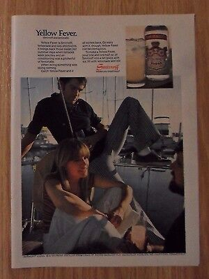 1976 Print Ad Smirnoff Vodka ~ 'Yellow Fever' Smirnoff & Lemonade Yacht Dock