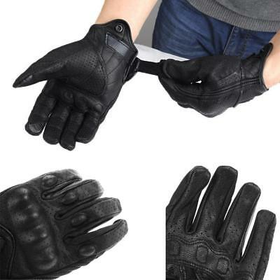 Riding Bike Racing Motorcycle Protective Armor Short Leather Gloves Mesh M L XL
