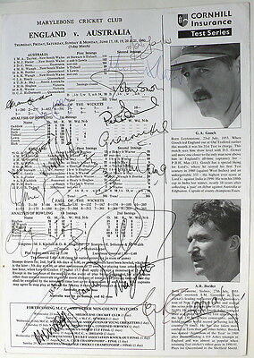 ENG v AUST LORDS JUNE 93 SCORECARD SIGNED BY BOTH TEAMS
