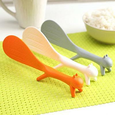 Three Color Cute Squirrel Kitchen Tool Non Stick Rice Paddle Spoon Ladle Scoop-C