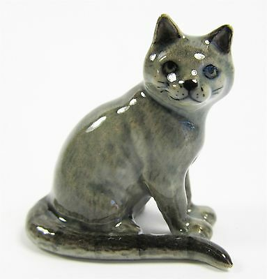 Miniature Porcelain Hand Painted Russian Blue Cat Figurine