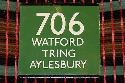 LONDON TRANSPORT GREEN LINE COACH STOP E-PLATE Route 706 WATFORD TRING AYLESBURY