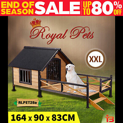 Royal Pet Dog Kennel Timber House Wooden Cabin Wood Log Box Home Window Patio