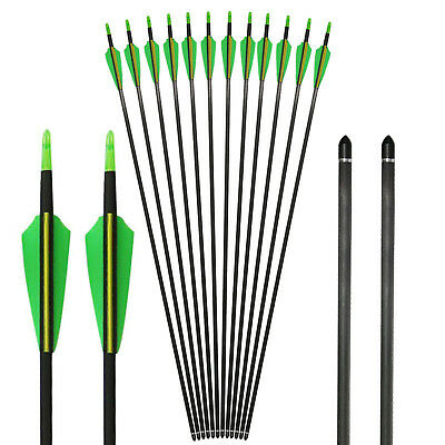 Archery 32'' Carbon Arrows Target Practice Hunting For Compound & Recurve Bow