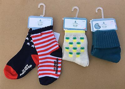 Baby GAP Girl Boy 4 Pairs Graphic Socks Stripes Stars Pineapple 12 24 months NWT