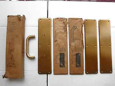 3 Vintage Hiawatha Hardware Brushed Brass Push/Pull Door Plates with Box