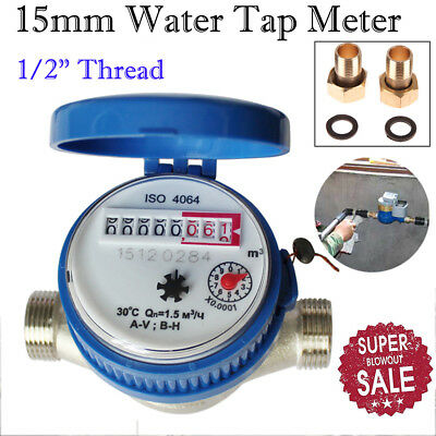 "1/2"" 15mm Cold Water Meter Garden and Home With Free Fittings Cold Dry Counter"