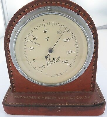 Vintage Rototherm Uk Advertising Leather Bound Desk Thermometer.