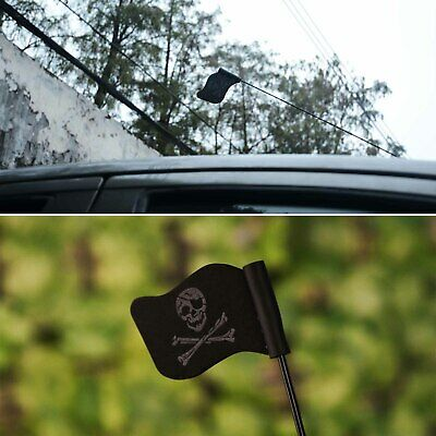 Black Jolly Roger Pirate Flag Car Antenna Pen Topper Aerial Ball Decor Toy